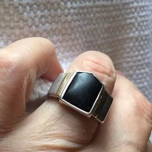 Vintage sterling silver ring with gold trim 8.25